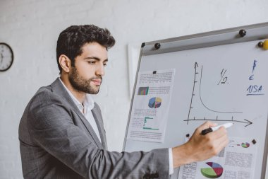 handsome businessman drawing chart on flipchart with marker pen in office