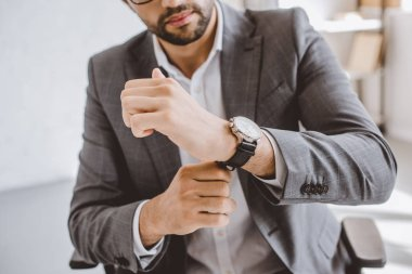 cropped image of businessman wearing wristwatch in office