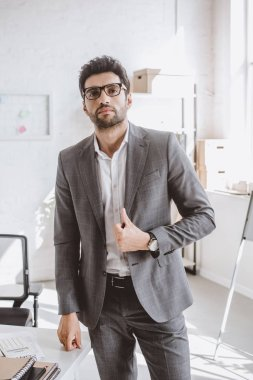 handsome businessman posing in grey suit in office