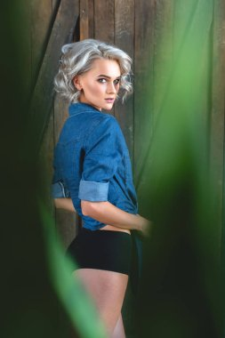 attractive young woman in denim shirt and underwear looking at camera through plant leaves