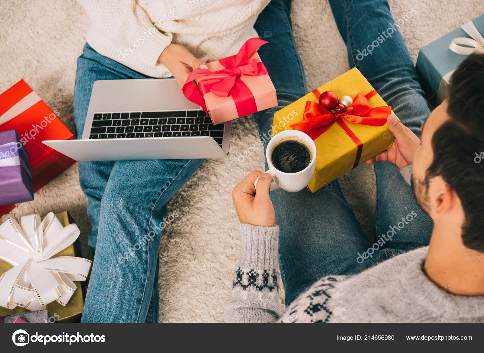 Cropped Shot Couple Presenting Christmas Gifts Each Other While ...