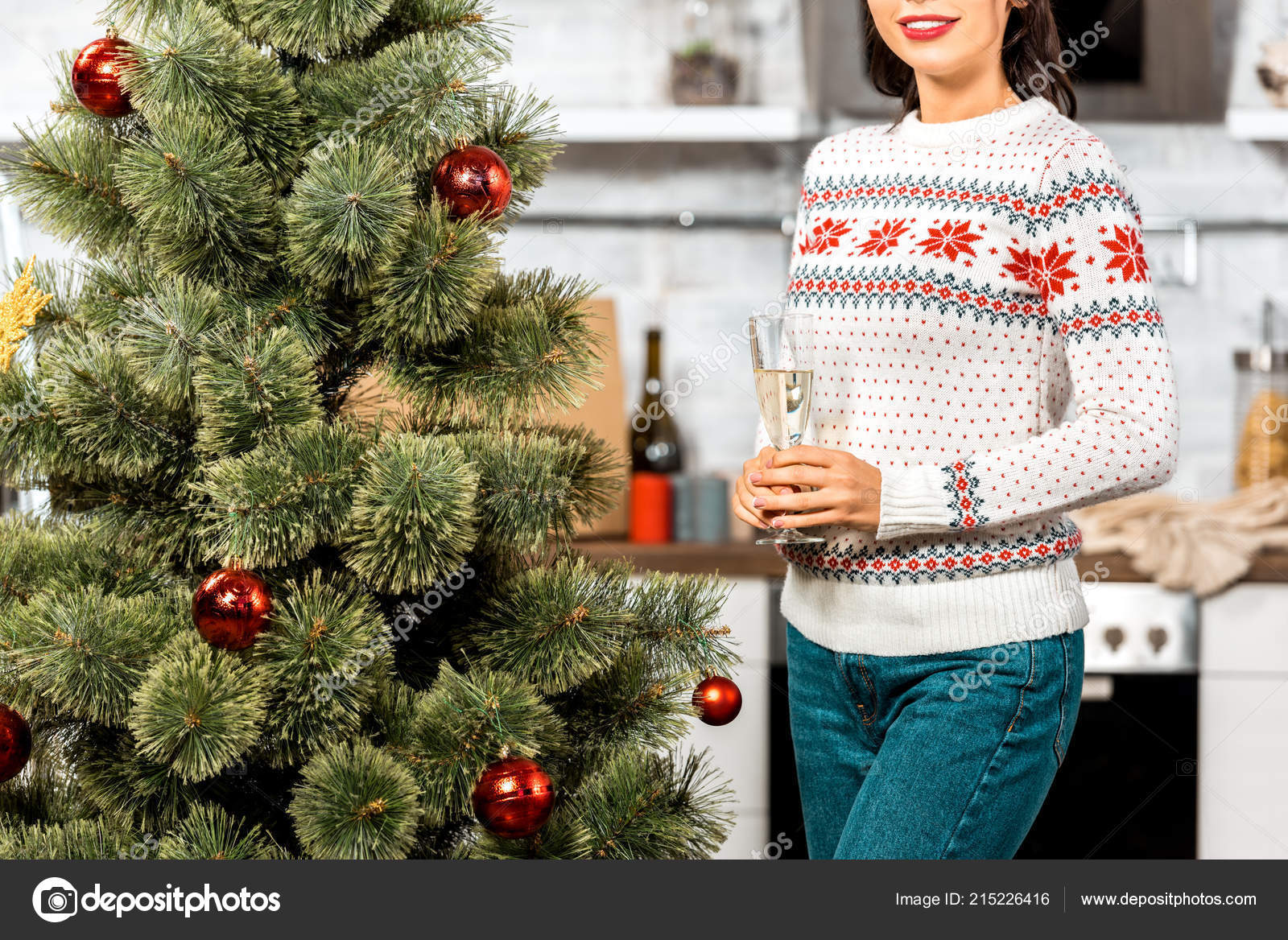 Partial View Woman Standing Champagne Glass Christmas Tree Kitchen ...