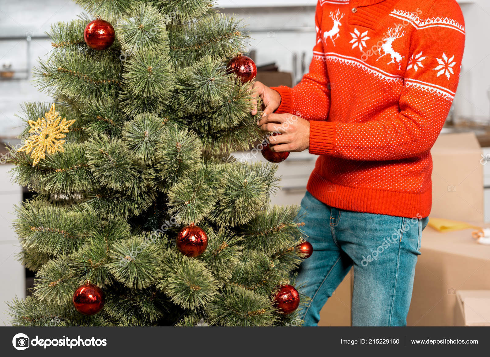 Cropped Image Man Decorating Christmas Tree Baubles Kitchen Home ...