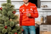 partial view of smiling man celebrating with champagne glass near christmas tree at home