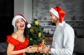 chrstmas kalap ajándékozás jelen mezőben nevetve barátnője, otthon, mosolygó ember