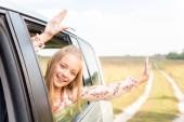 slaví malé dítě při pohledu z okna auta při jízdě polem