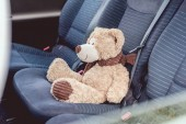 Fotografie zblízka střílel roztomilý medvídek sedící na zadních sedadlech vozu