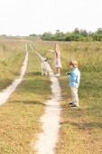 Fotografie entzückende kleine Kinder verbringen Zeit zusammen im Feld mit golden retriever