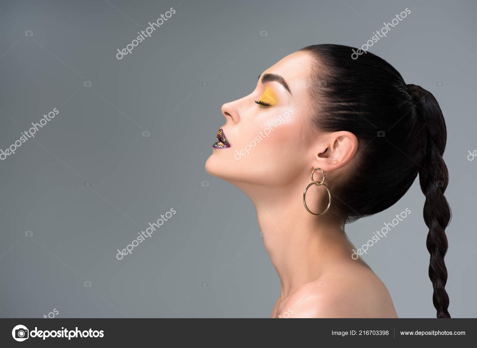 Picture: a girl side view   Side View Girl Stylish Makeup ...