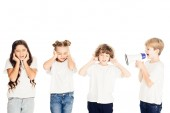 Photo boy screaming in megaphone, kids covering ears isolated on white