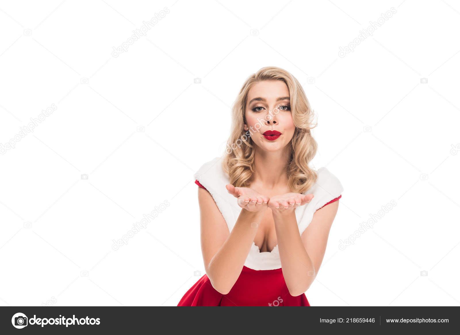 Attraktives Santa Mädchen Weihnachten Kleid Weht Luft Kuss Isoliert ...
