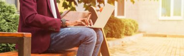 cropped wide shot of freelancer using laptop on bench with skateboard