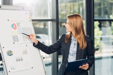 female business speaker pointing at white board during lecture in conference hall
