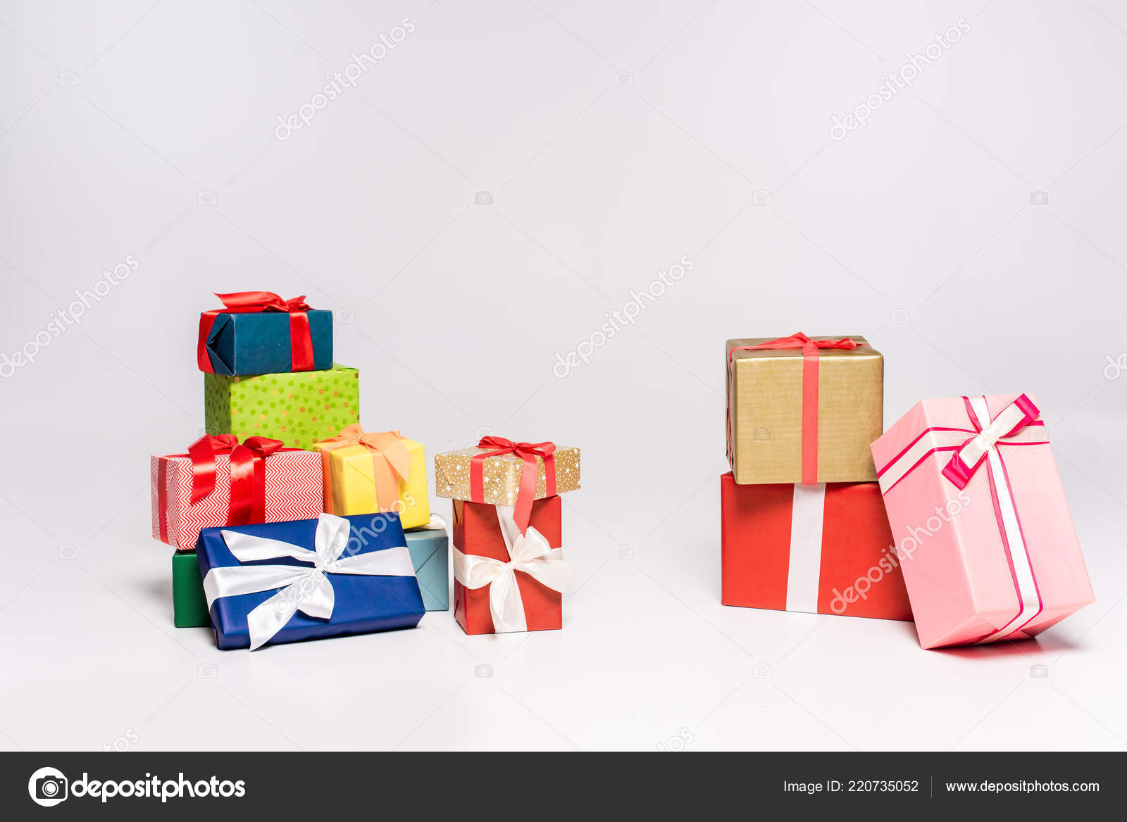 Various Colorful Gift Boxes Christmas Presents Grey — Stock Photo ...