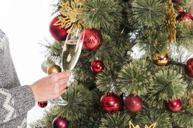 cropped shot of woman in sweater with glass of champagne near christmas tree isolated on white