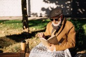 Fotografie pěkný starší zakázán muž vozíku čtení knihy na ulici