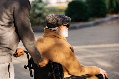 cropped shot of senior disabled man in wheelchair and nurse riding on street