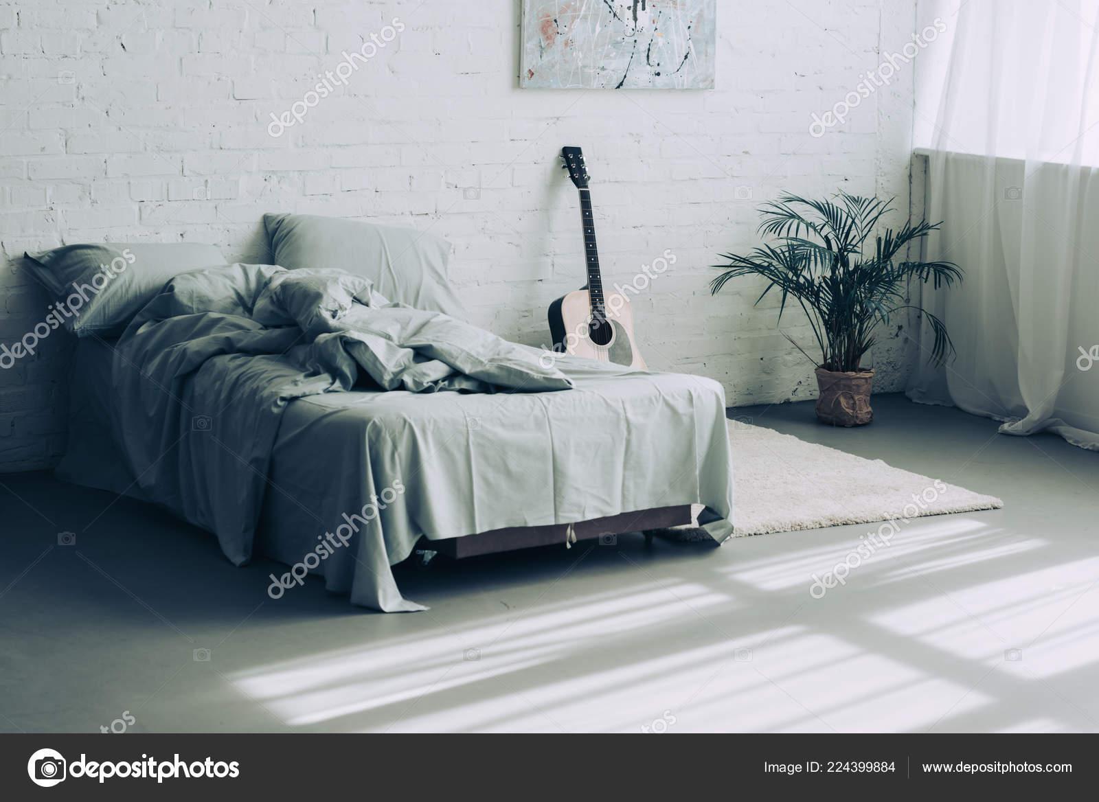 Interior Modern Bedroom Guitar Houseplant Stock Photo Image By C Igorvetushko 224399884