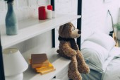 high angle view of teddy bear sitting on shelves with books and candles at home