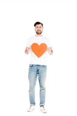 Handsome man showing red big heart shape sign isolated on white stock vector