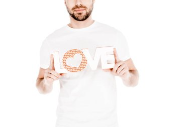 Partial view of man holding love sign isolated on white stock vector