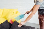 Fotografie close up of female hands holding multicolored duster