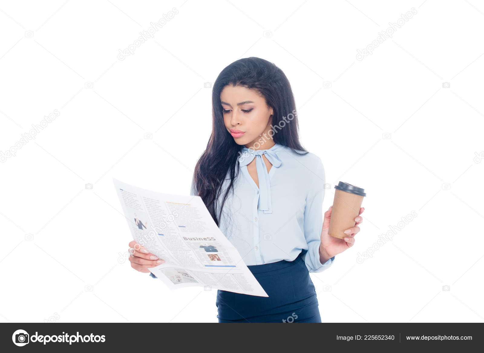 serious young african american businesswoman holding paper cup