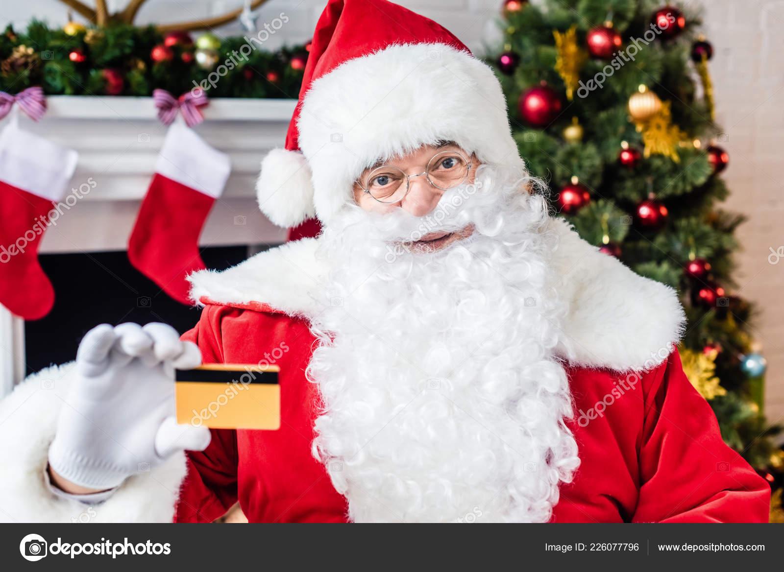 Santa Claus Holding Credit Card Looking Camera — Stock Photo ...