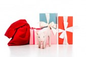 cute little piglet and red bag near christmas gifts isolated on white