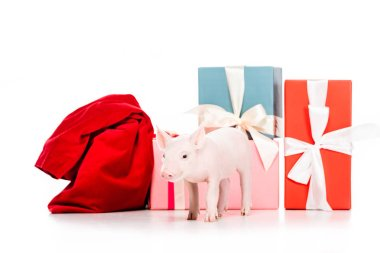 adorable little pig and red bag near christmas presents isolated on white