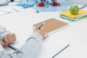 Iskolás ülő-on iskolapad, és írásban notebook lecke során levágott látképe