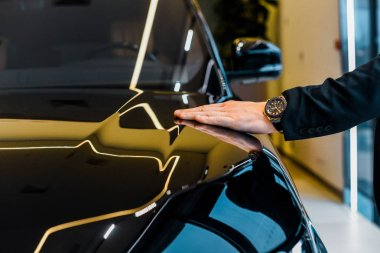cropped image of businessman with luxury watch choosing automobile in dealership salon