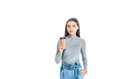 Portrait of attractive woman with coffee to go isolated on white stock vector
