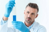 Photo selective focus of handsome scientist looking at test tube with blue reagent isolated on white
