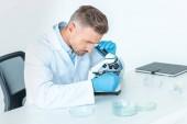hezký chemik dělat test s mikroskopem izolované na bílém