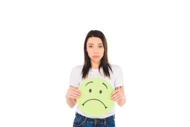 attractive girl holding sign with unhappy face expression isolated on white