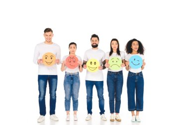 multicultural friends holding different multicolored signs with face expressions isolated on white