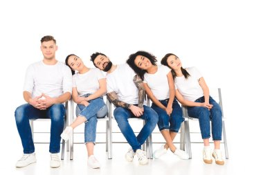 Multicultural group of young people lying on shoulders of each other isolated on white stock vector