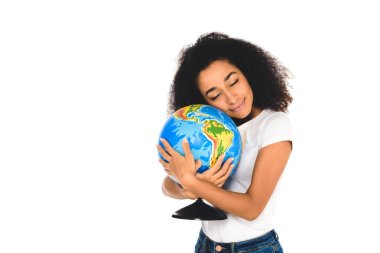 Curly african american girl hugging globe isolated on white stock vector