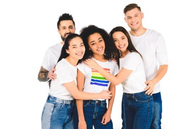 multiethnic group of young people hugging with african american woman with lgbt sign on t-shirt isolated on white