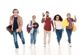 cheerful multicultural group of young people with vinyl records and headhphones isolated on white