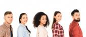 többnemzetiségű csoport boldog fiatal elszigetelt fehér