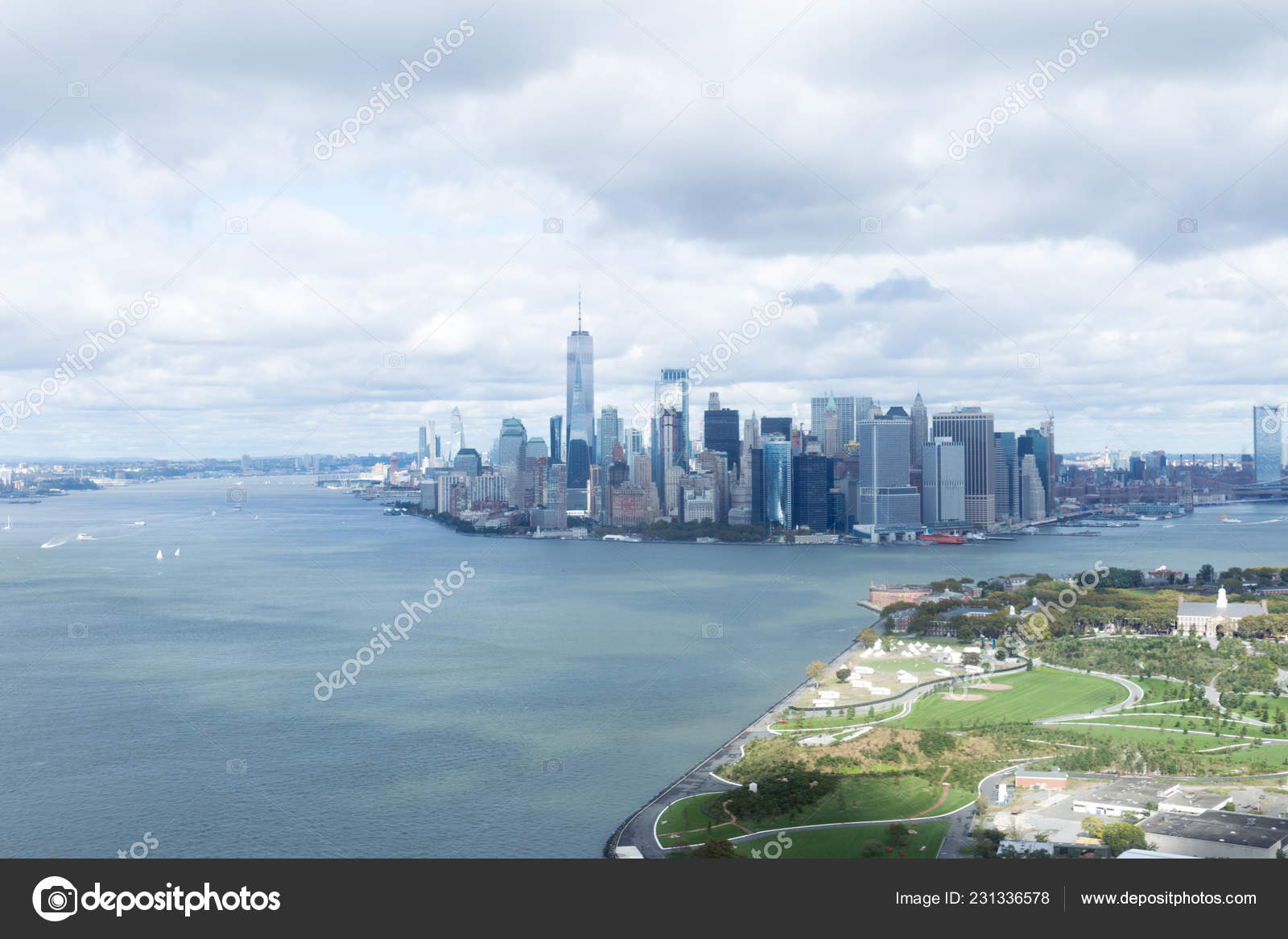 Aerial View Atlantic Ocean New York City Usa Stock Photo