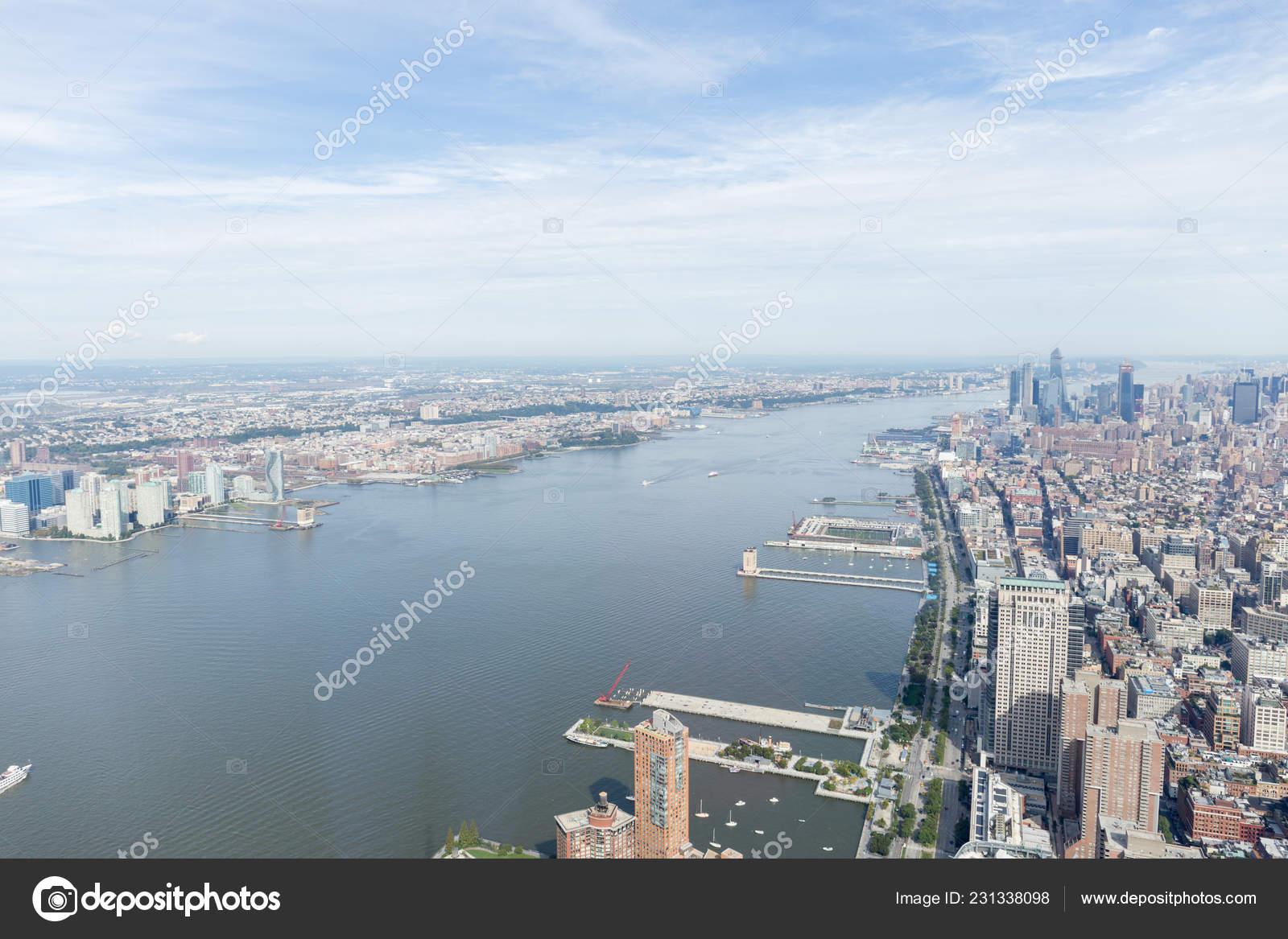 Aerial View New York Buildings Atlantic Ocean Usa Stock Photo