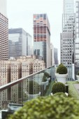 Fotografie scenic view of new york architecture and flowerpots on balcony, usa