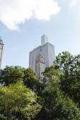 Urban-Szene mit grünen Bäumen und Architektur der Stadt von New York, usa