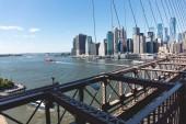 Fotografie Městská scéna Manhattanu od Brooklynský most v new Yorku, usa