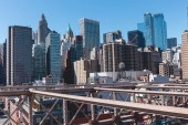 Fotografia scena urbana di manhattan dal ponte di brooklyn a new york, usa