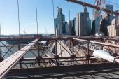 Městská scéna Manhattanu od Brooklynský most v new Yorku, usa