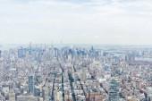 Fotografie Letecký pohled na newyorské mrakodrapy a zamračená obloha, usa
